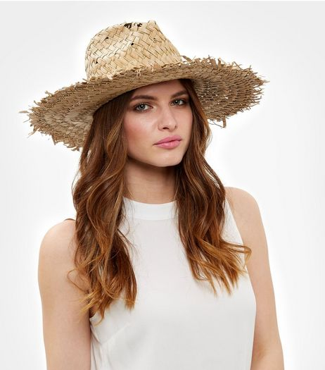 Cream Fray Trim Fedora  | New Look