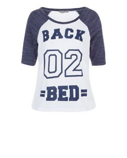 Navy Back 02 Bed Print Raglan Pyjama Top | New Look