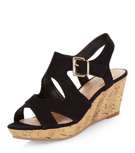 Teens Black Suedette Cross Strap Wedges  | New Look