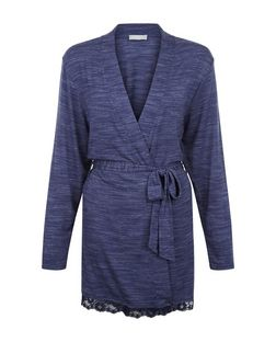 Navy Space Dye Lace Trim Dressing Gown | New Look