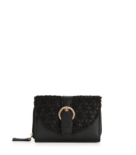 Black Crochet Curve Flap Purse  | New Look