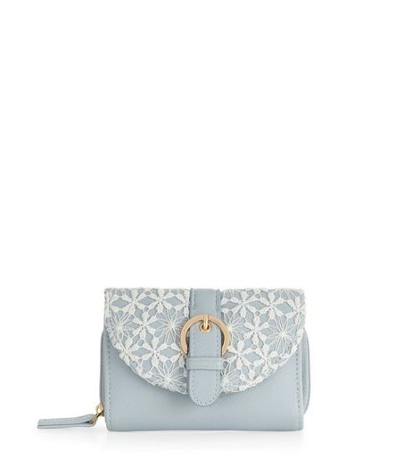 Pale Blue Crochet Curve Flap Purse  | New Look