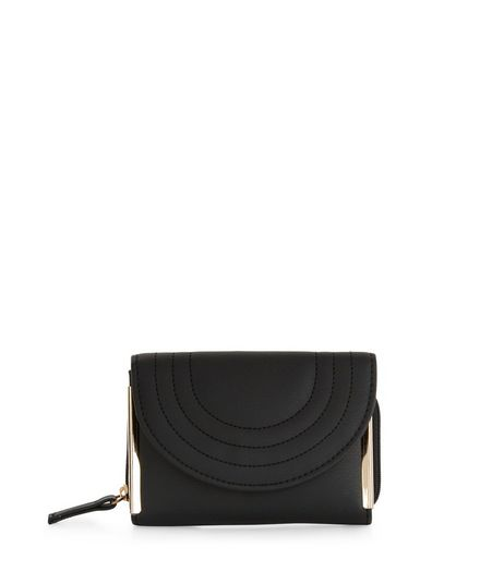 Black Quilted Curve Purse  | New Look