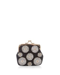 Black Daisy Embellished Clip Frame Purse  | New Look