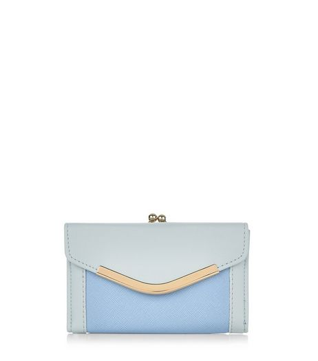Blue Colour Block V Flap Purse  | New Look