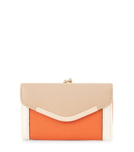 Orange Colour Block V Flap Purse  | New Look