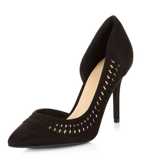Black Woven Trim Cut Out Side Pointed Heels  | New Look