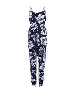 Blue Tropical Print Strappy Jumpsuit  | New Look