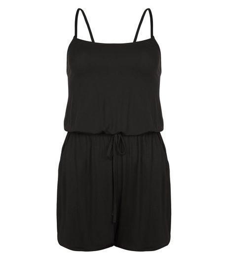 Black Strappy Playsuit  | New Look