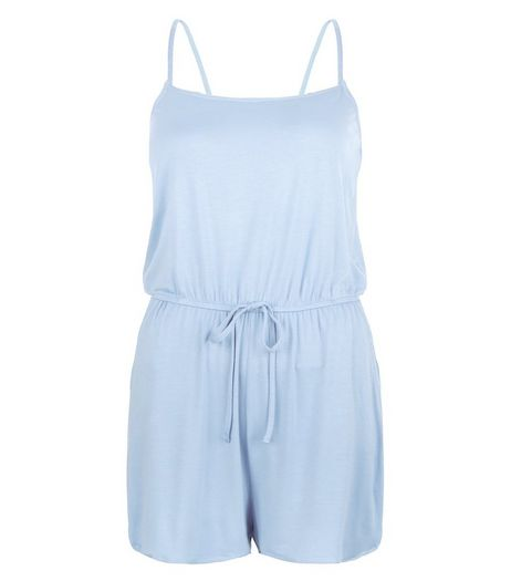 Pale Blue Strappy Playsuit  | New Look