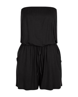 Black Bandeau Tie Waist Playsuit  | New Look