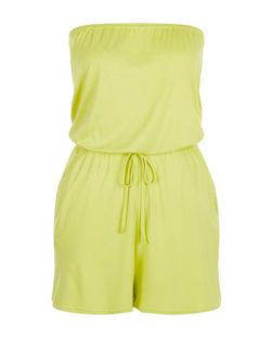 Lime Bandeau Tie Waist Playsuit  | New Look