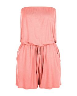Coral Bandeau Tie Waist Playsuit  | New Look