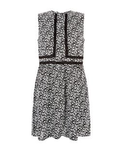 Black Ditsy Floral Print Crochet Trim Sleeveless Dress  | New Look