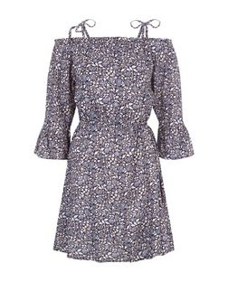Purple Ditsy Floral Print Tie Strap Bardot Neck Dress  | New Look