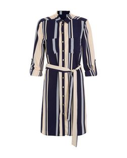 Cameo Rose Navy Stripe Shirt Dress | New Look