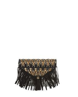 Black Aztec Beaded Fringe Tassel Trim Clutch | New Look