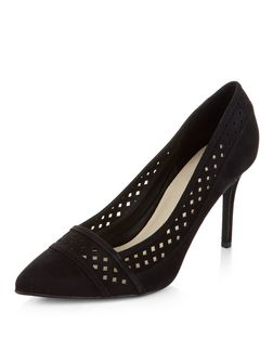 Black Comfort Suedette Perforated Trim Pointed Heels  | New Look
