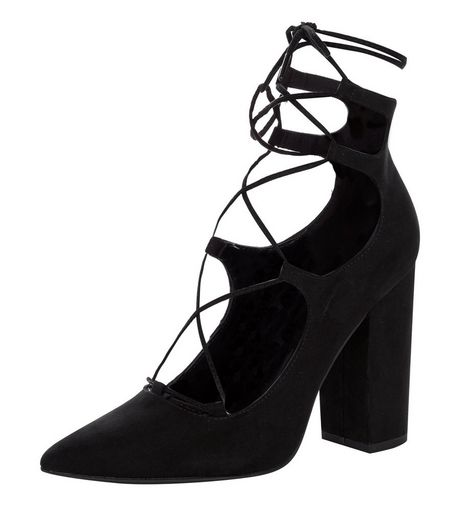 Black Suedette Pointed Ghillie Block Heels  | New Look