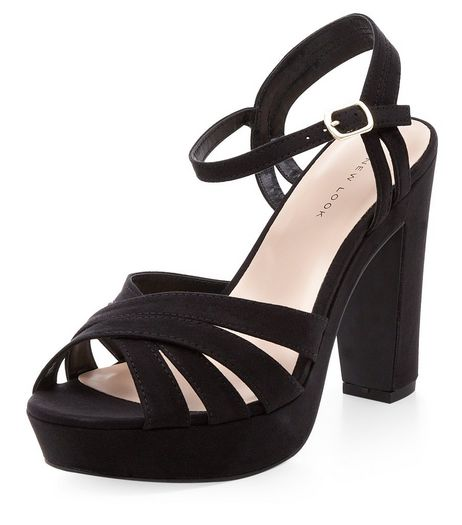 Black Suedette Cross Strap Platform Heels  | New Look