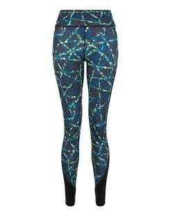 Blue Aztec Print Sports Leggings  | New Look