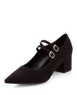 Black Double Strap Pointed Block Heels  | New Look