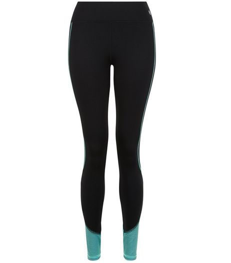 Black Stripe Hem Colour Block Sports Leggings  | New Look