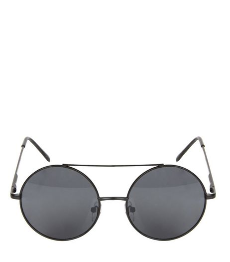 Black Bar Top Metal Round Sunglasses  | New Look