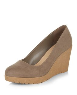 Light Brown Suedette Contrast Cork Wedges  | New Look