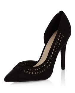Black Suedette Woven Trim Pointed Heels  | New Look
