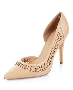 Stone Woven Trim Cut Out Side Pointed Heels  | New Look