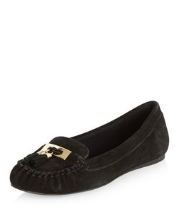 Wide Fit Black Suede Tassel Moccasins | New Look