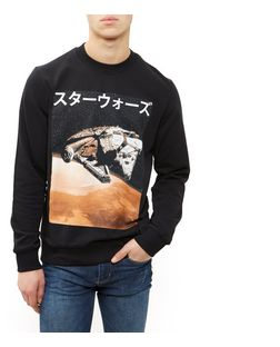 Jack and Jones Black Star Wars Falcon Print Sweater | New Look