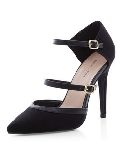 Black Suedette Strappy Front Pointed Heels  | New Look