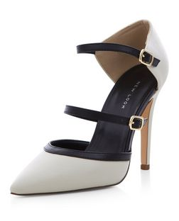 Monochrome Suedette Strappy Front Pointed Heels  | New Look