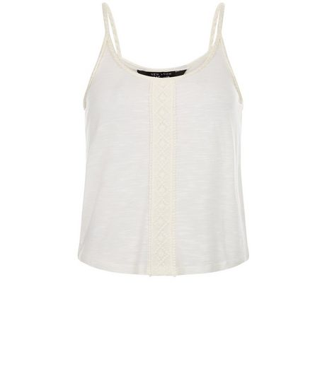 Teens Cream Crochet Panel Plait Trim Cami  | New Look
