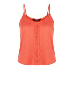 Teens Bright Pink Crochet Panel Plait Trim Cami  | New Look