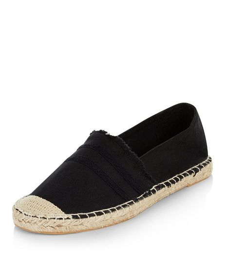 Black Canvas Fray Trim Espadrilles  | New Look