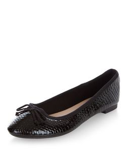 Black Patent Snakeskin Texture Ballet Pumps  | New Look