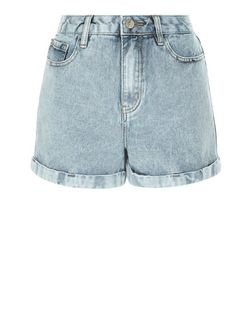 Grey Acid Wash Turn Up Mom Denim Shorts  | New Look