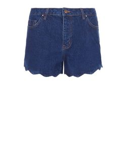 Blue Scallop Hem Denim Shorts  | New Look