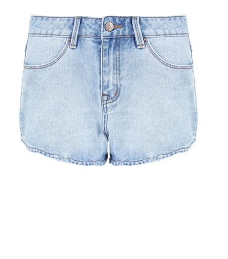 Pale Blue Scallop Hem Mom Denim Shorts  | New Look