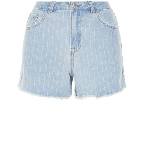 Pale Blue Stripe Fray Hem Mom Denim Shorts  | New Look