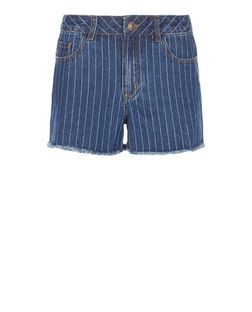 Blue Stripe Fray Hem Mom Denim Shorts  | New Look