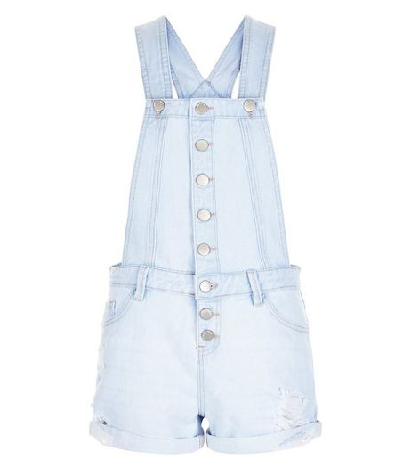 Pale Blue Denim Button Front Short Dungarees  | New Look
