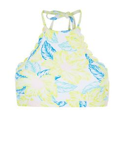 Yellow Tropical Print Bikini Top | New Look