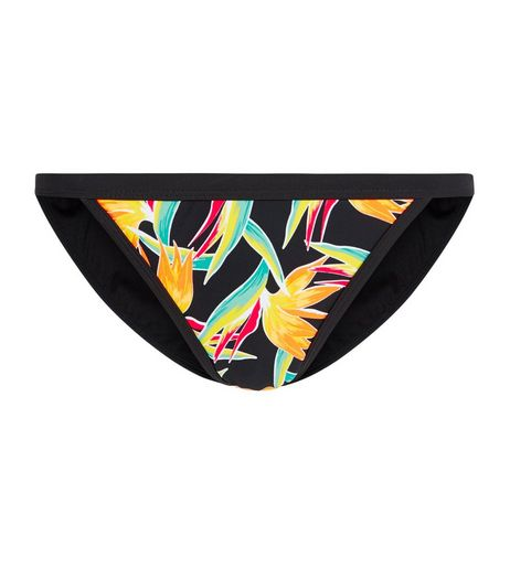 Black Tropical Print Bikini Bottoms | New Look
