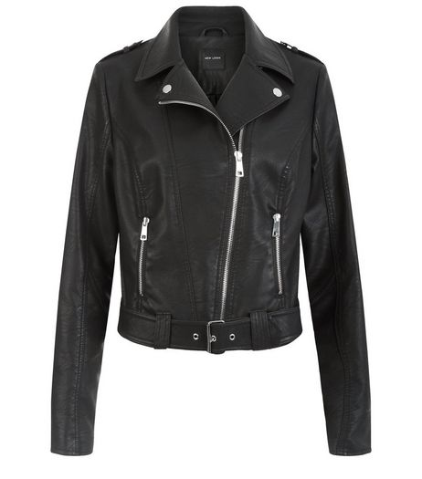Black Leather-Look Belted Biker Jacket  | New Look