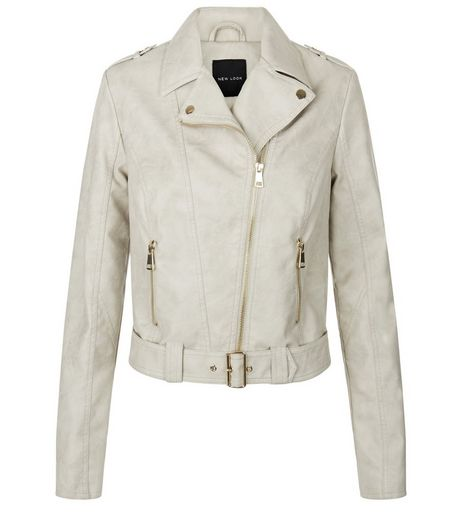 Cream Leather-Look Belted Biker Jacket  | New Look