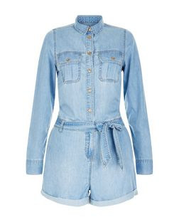 Pale Blue Denim Double Pocket Button Front Playsuit  | New Look